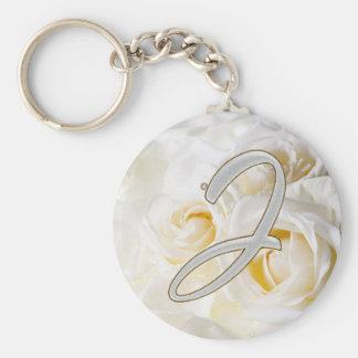 Diamond Bling J Basic Round Button Key Ring