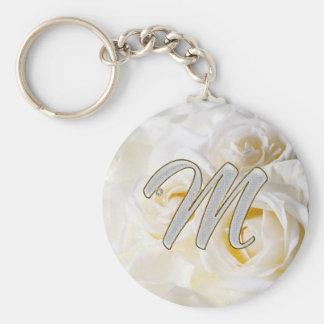 Diamond Bling M Basic Round Button Key Ring