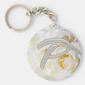 Diamond Bling P Basic Round Button Key Ring