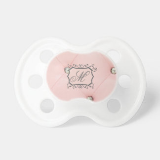 Diamond Bling Pink Tufted Leather Pacifier Paci