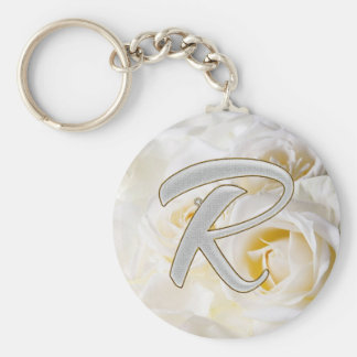 Diamond Bling R Basic Round Button Key Ring