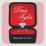 Diamond Bling Ring Box square red Square Sticker