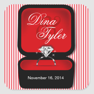 Diamond Bling Ring Box square red Square Stickers