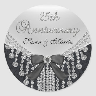 Diamond Bow & Damask 25th Anniversary Sticker
