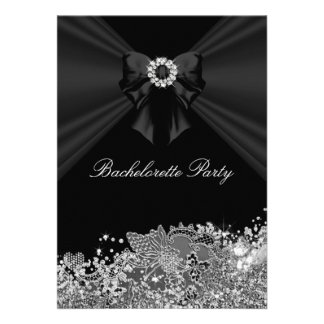 Diamond Bow Lace Bachelorette Party Invite