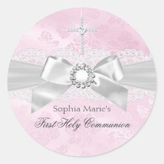 Diamond Bow Pink First Holy Communion Sticker