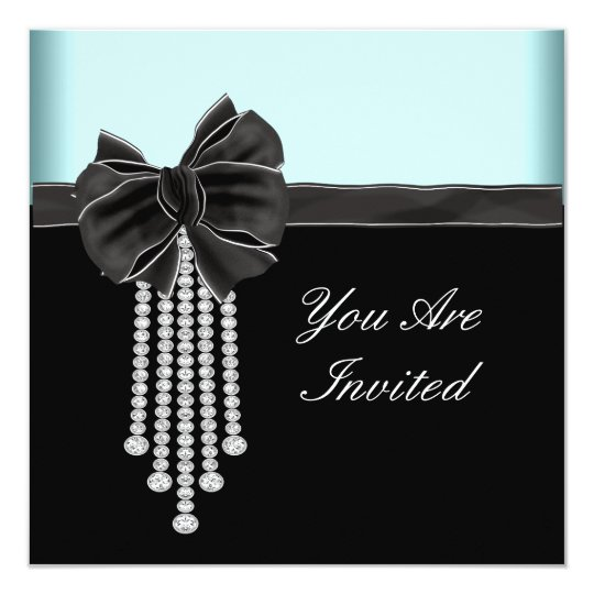 Diamond Bow Teal Blue Black Party Template Card