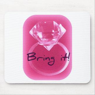 DIAMOND BRING IT! HOT PINK PRINT MOUSE PAD