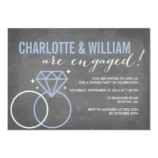 Diamond Chalkboard Engagement | Engagement 13 Cm X 18 Cm Invitation Card