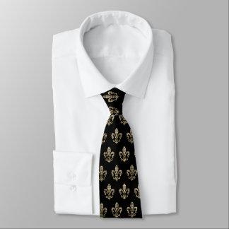Diamond Check Fleur De Lis Pattern Tie