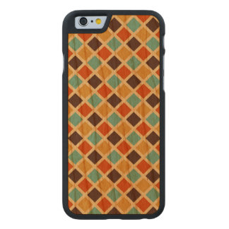 Diamond Checkered Blue Yellow Red Retro Colors Carved® Cherry iPhone 6 Slim Case