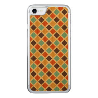 Diamond Checkered Blue Yellow Red Retro Colors Carved iPhone 7 Case