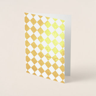 Diamond Checkered White and Gold Foil Card