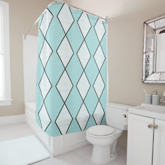 Diamond_Classic(c) Aqua-White Shower Curtain