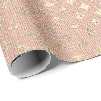 Diamond Cut Foxier Gold Salmon Peach VIP Linen Wrapping Paper