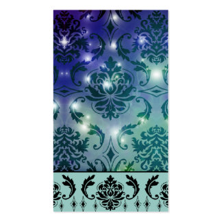 Diamond Damask, FAIRY LIGHTS in Blue and Teal Double-Sided Standard Business Cards (Pack Of 100)