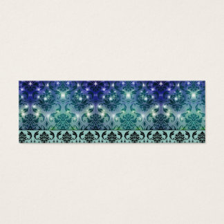 Diamond Damask, FAIRY LIGHTS in Blue and Teal Mini Business Card