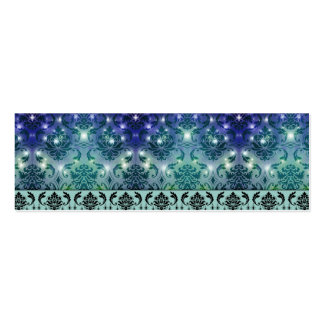Diamond Damask, FAIRY LIGHTS in Blue and Teal Pack Of Skinny Business Cards