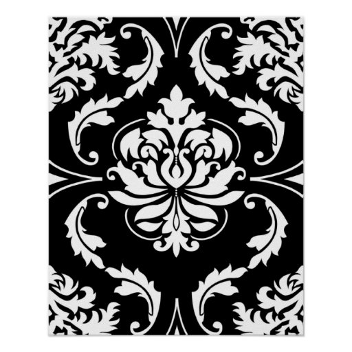 Diamond Damask in White on Black Posters