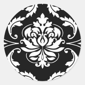 Diamond Damask in White on Black Round Sticker