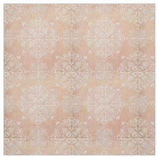 Diamond Damask Lace Peach Fabric Material