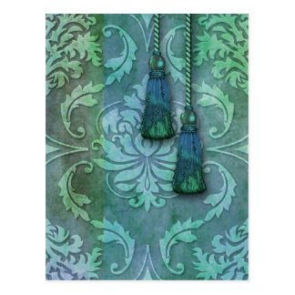 Diamond Damask, Morocco in Green and Teal Postcard