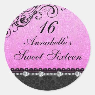 Diamond & Damask Pink Sweet16 Sticker