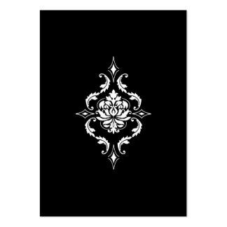 Diamond Damask White on Black Business Card Templates