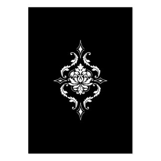 Diamond Damask, White on Black Pack Of Chubby Business Cards