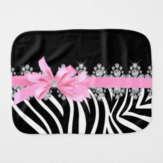 Diamond Delilah Zebra (Pink) Baby Burp Cloths