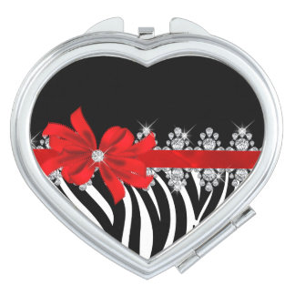 Diamond Delilah Zebra (Red) Compact Mirrors