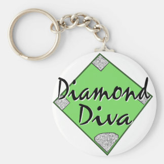 Diamond Diva Softball Basic Round Button Key Ring