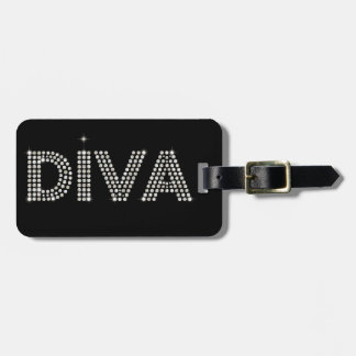 Diamond Diva Sparkling Black Luggage Tag