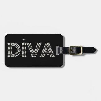 Diamond Diva Sparkling Black Travel Bag Tag