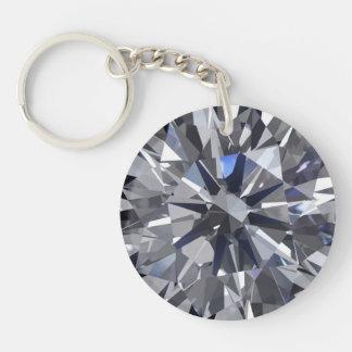 Diamond Double-Sided Round Acrylic Key Ring