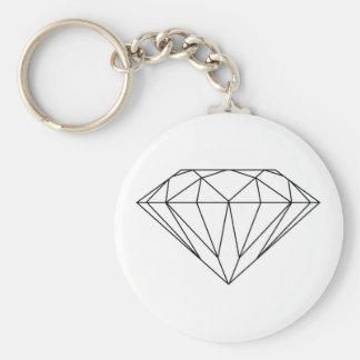 Diamond Drawing Black and White Modern Basic Round Button Key Ring