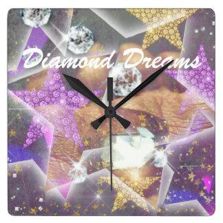 Diamond Dreams Square Wall Clock