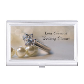Diamond Engagement Ring and Pearls Wedding Business Card Holder
