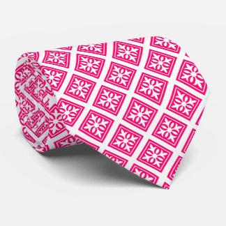 Diamond Four Leaf Pattern/Pink Tie