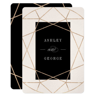 Diamond Gemstone Geometric Modern Wedding Invite