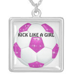 Diamond Gemstones Hot Pink Soccer Ball Square Pendant Necklace