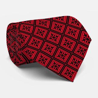Diamond Geometric Black & Red Tie