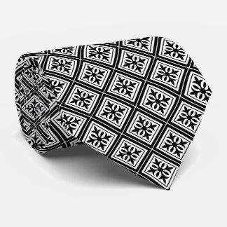 Diamond Geometric Black & White Tie