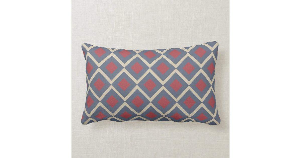 Blue Rectangle Throw Pillow : Diamond Geometric Blue Red Rectangle Throw Pillow Zazzle.com.au