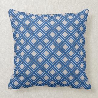 Diamond Geometric Pattern China Blue Cushion