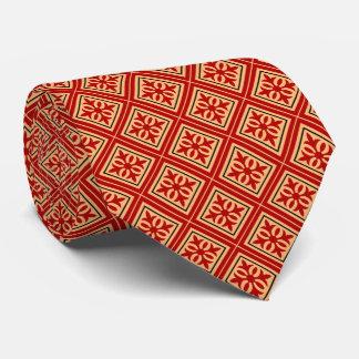 Diamond Geometric Red & Gold Tie