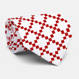 Diamond Geometric Red & White Tie