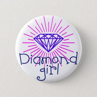 diamond girl, gem shining 6 cm round badge