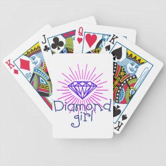 diamond girl, gem shining bicycle playing cards