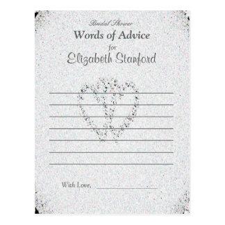 Diamond Glitter   Bridal Shower Advice Card